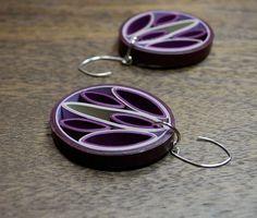 Modern Paper Earrings / 1st Anniversary Gift / Paper Jewelry / Eco Friendly Jewelry / Sterling Silver Earwire - Flox