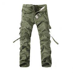 Pantalones para hombre de Carga Multi bolsillos pantalones de algodón Casual Trajes de trabajo - US $ 23.88