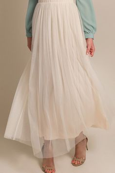 Aubrey Tulle Cream Maxi Skirt
