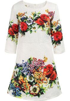 White Half Sleeve Floral Jacquard Dress