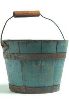 19th Century Bucket Primitive Painted Furniture, Country Furniture, Antique Paint, Antique Decor, Painted Boxes, Wooden Boxes, Pail Bucket, Barrel Planter, Antique House
