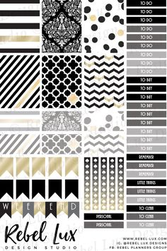 Elegant printable stickers with hints of art deco style in black and gold by rebelluxdesigns