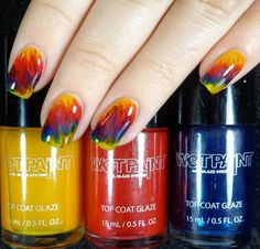 Wet Paint Raincoat Slicker (yellow), Jelly Rancher Red and Waterfalling For You (blue) ; this brand has more color choices and the formula goes on like buttah - unlike the OPI tints.