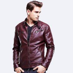 Jaqueta de couro slim fit