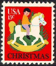 The 1978 U.S. Christmas contemporary stamp depicts a child on a rocking horse with Christmas trees in the background. The stamp was designed by Dolli Tingle.