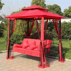 Henryka LX-504-B RED Red Steel Gazebo Swing