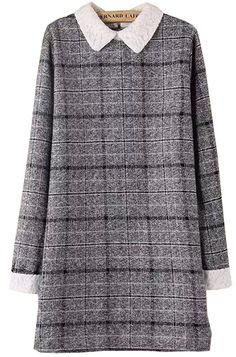 Grey Contrast Lace Collar Plaid Dress - abaday.com