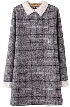 Grey Contrast Lace Collar Plaid Dress - abaday.com