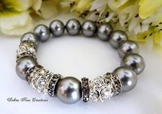 Swarovski Grey Pearl Bracelet Crystal Charcoal Grey Wedding Bridal Grey Bridesmaid Jewelry Gray Pearl Jewelry Mother of Bride Groom Gift