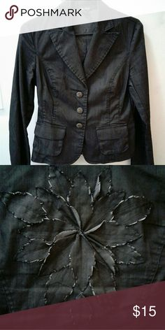 Denim look blazer This blazer is light weight while giving off a denim feel. Has a unique flower detail on back. Jackets & Coats Blazers