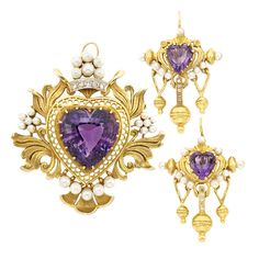 Antique Gold, Amethyst, Pearl and Diamond Brooch and Pair of Earrings. One heart-shaped amethyst ap. 19.00 cts., 2 heart-shaped amethysts, c. 1900, ap. 19.6 dwts.