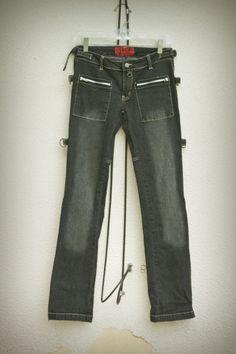 Tripp NYC  Black Denim Jeans Gothic Punk Adjusters D-Rings Tabs Zippers Size 1 #TrippNYC #StraightLeg