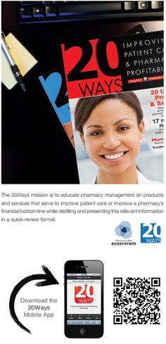 B2B ECOSYSTEM --- The 20Ways is a quarterly publication which serves to educate pharmacy management on products and services that serve to improve patient care or improve a pharmacy's financial bottom line while distilling and presenting this relevant information in a quick-review format. Explore past issues and view the QUICK REVIEW MODULE at: http://www.rxinsider.com/20ways/