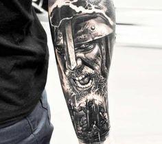 Perfect Black and grey realistic tattoo style of Vikings motive done by tattoo artist Jakub Hanus
