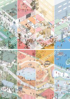Conceptual Model Architecture, Architecture Mapping, Architecture Collage, Landscape Architecture Design, Architecture Board, Architecture Graphics, Architecture Visualization, Urban Design Diagram, Urban Design Plan