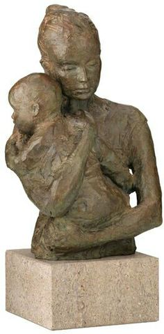 """Valerie Otte: Sculpture """"Security"""" (Version with Base), Bronze - ars mundi Pottery Sculpture, Sculpture Clay, Bronze Sculpture, Statue Ange, Sculptures Céramiques, Mother And Child, Art Plastique, Clay Art, Oeuvre D'art"""