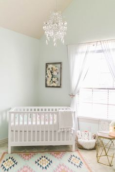 Soft boho nursery, mint walls, light and airy accents