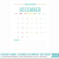 2014 Everyday Planner - FREE December 2013 Monthly Vertical Printable Calendars | MissTiina.com {Blog}