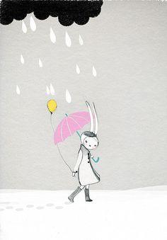 Fifi Lapin walking in the rain. Happy Halloween!