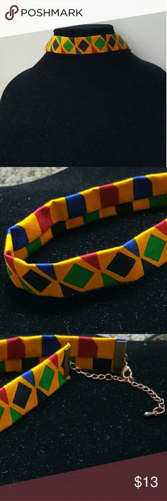 AFRICAN PRINT CHOKER 14 in long and 1 Inch wide yellow/blue/green/red, fabric from Togo gold chrome clasp and chain. Handmade Jewelry Necklaces