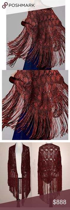 FREE PEOPLE Bohemian Cape Long Draped Maxi Poncho One Size. Brand New With Tags.  • Beautiful long draped wrap featuring woven fabric & fringe tassel trim. • Intricate red geometric patterned design throughout with raw seams. • Wear as a scarf, shawl, cape, wrap, etc - very versatile piece! • Unique due to the hand-woven process. • Much prettier in person! • Color is a deep red. • Acrylic.  # Fall Back to School Coverup Winter  { Southern Girl Fashion } • Same-Business-Day shipping (10am CT)…