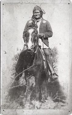 Geronimo on horseback in 1886, in a striking portrait made by the Tombstone-based photographer Camillus Sidney Fly.