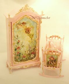 Petite Garden Fairy set. Baby Doll Nursery, Baby Nursery Furniture, Playroom Furniture, Baby Nursery Decor, Dollhouse Furniture, Pink Dollhouse, Dollhouse Dolls, Dollhouse Miniatures, Miniature Crafts