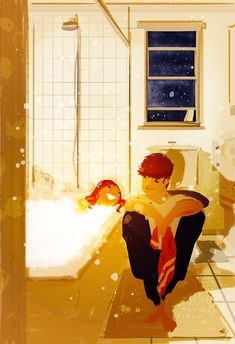 Warm baths are the best. by PascalCampion on deviantART