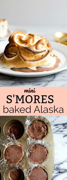 Baked Alaska recipe: mini baked Alaskas made in a muffin pan! S'mores baked Alaska dessert for two.