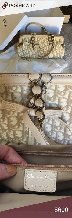 Christian Dior handbag Beautiful monogram Dior bag with lambskin trim. Near perfect condition, with original box. Cream and light tan in color. Christian Dior Bags Shoulder Bags