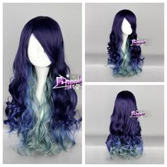 Purple Mixed Blue Green Long Curly Lolita Hair Harajuku Ombre Anime Cosplay Wig | eBay
