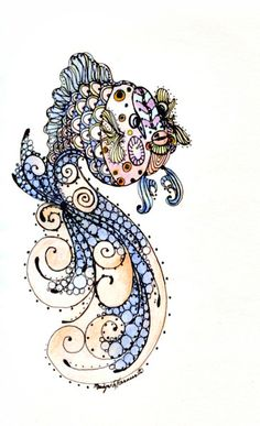 colored pencil and ink fish zentangle Tangle Doodle, Tangle Art, Zen Doodle, Doodle Art, Zentangle Drawings, Doodles Zentangles, Zentangle Patterns, Art Drawings, Fish Zentangle