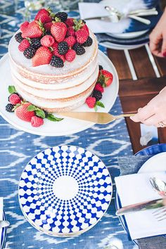 The Birdiegirl Company | The 4th of July, featured on Brit & Co. Naked layer cake with cream cheese frosting and fresh berries! Yum.