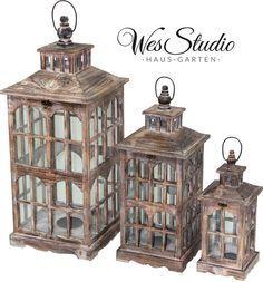 3tlg Holzlaterne GROßE Laternen-Set Bodenlaterne Windlicht Landhaus Dekolaterne 98 €