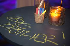 Kid-friendly decor included highboys with chalkboard surfaces. Jars of colored chalk let guests—both young and old—doodle as they sampled ap... Photo: David Fox