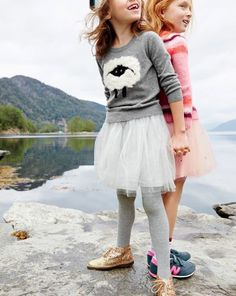 J.Crew girls fuzzy sheep sweater, tulle skirt, and glitter Macalister boots. To preorder call 800 261 7422 or email verypersonalstylist@jcrew.com.