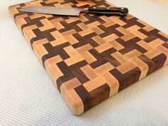 Handmade Butcher Block Cross Design End-grain Cutting Board Walnut And Maple