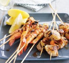 Prawn and scallop skewers - Healthy Food Guide Easy Delicious Recipes, Healthy Eating Recipes, Healthy Foods To Eat, Healthy Treats, Healthy Cooking, Yummy Food, Australian Food, Light Recipes, Seafood Recipes