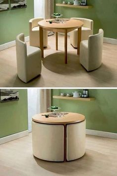 A space saver and a stylish idea for a kitchen, lounge or sitting area.