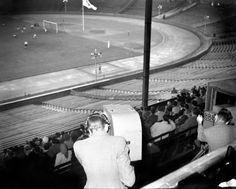 The view from the commentary gantry for the Summer Olympic Games Final match between Yugoslavia and Sweden at Wembley, 1948