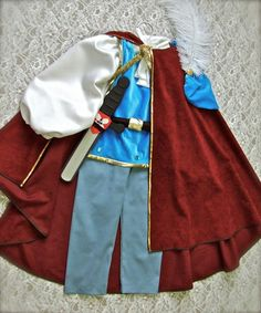 Prince Charming Inspired (Snow White) 6-Piece Costume with Velvet and Gold Trimming on Etsy, $80.00