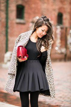 Falling for Fall :: Leopard coat & Flare skirt (via Bloglovin.com )