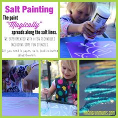 """Salt Painting:  This could be a great outdoor craft activity for a party, and the kids can take their creations home with them.  Prepare glue + salt designs ahead of time, then give kids """"paint"""" composed of food coloring & water.  [for Frozen themed party, this will be so cool, as the paint magically spreads just like Elsa's magic!]"""