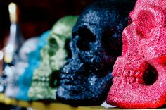 colorful, glitter, photography, skull