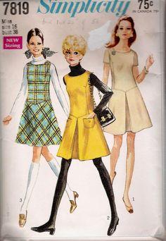 "Dress Jumper VINTAGE SEWING PATTERN 7819 SIMPLICITY SIZE 16 BUST 38 HIP 40"" CUT"