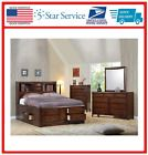 Wood King Size Bed Storage Chest Brown Finish Coaster Bookcase Solid Hardwood Best Ever! #kingsize #solidwood #kingwood