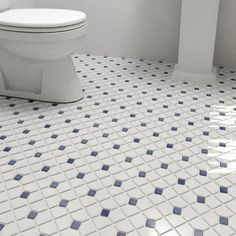Found it at Wayfair - Cambridge Random Sized Porcelain Mosaic Tile in Matte White/Cobalt Dot