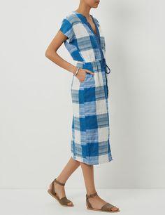 Blue Cotton Plaid Drawstring Dress