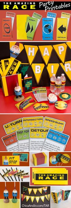 Amazing Race party printables that includes banners, invitations, route cards, popcorn boxes, water bottle wraps, clue cards, favor boxes, straw flags, and more! #amazingraceparty #partydecor