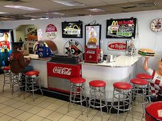 Coca Cola Soda Fountain Bar - This unit has been assembled by restoring the bar and the actual fountains from the 50's and adding new commercial COKE Cooler - Back in the Day Classics